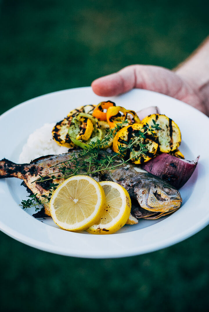 A backyard cookout grilled pompano with summer vegetables for Pompano fish good to eat