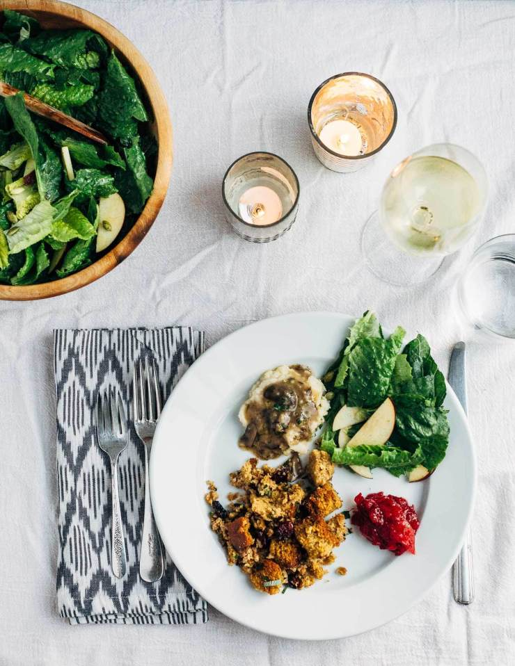 A rich, sating vegetarian Friendsgiving menu and a plant-based, gluten-free recipe for wild rice and cornbread stuffing.