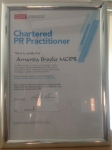 Mandy Brooks MCIPR certificate