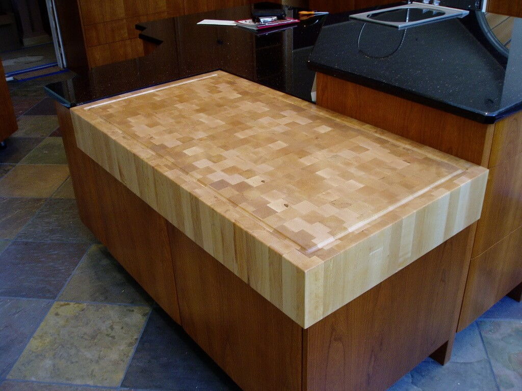 Maple End Grain Wood Countertop Cutting Board With Juice Groove
