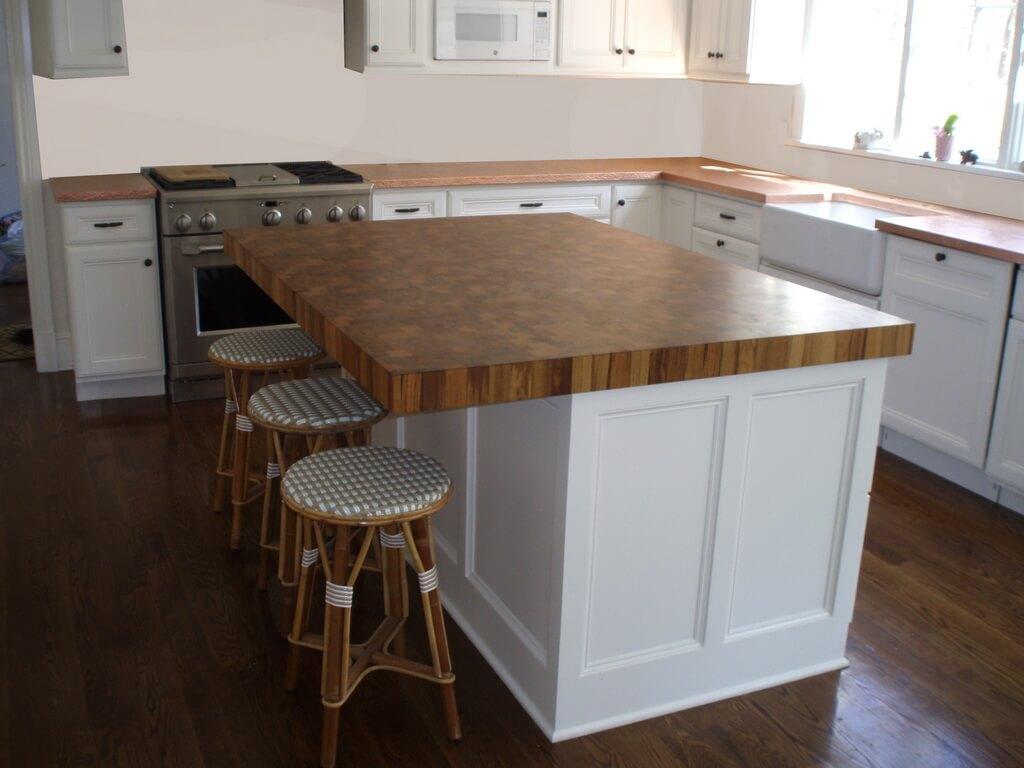 Teak End Grain Kitchen Island Wood Countertop