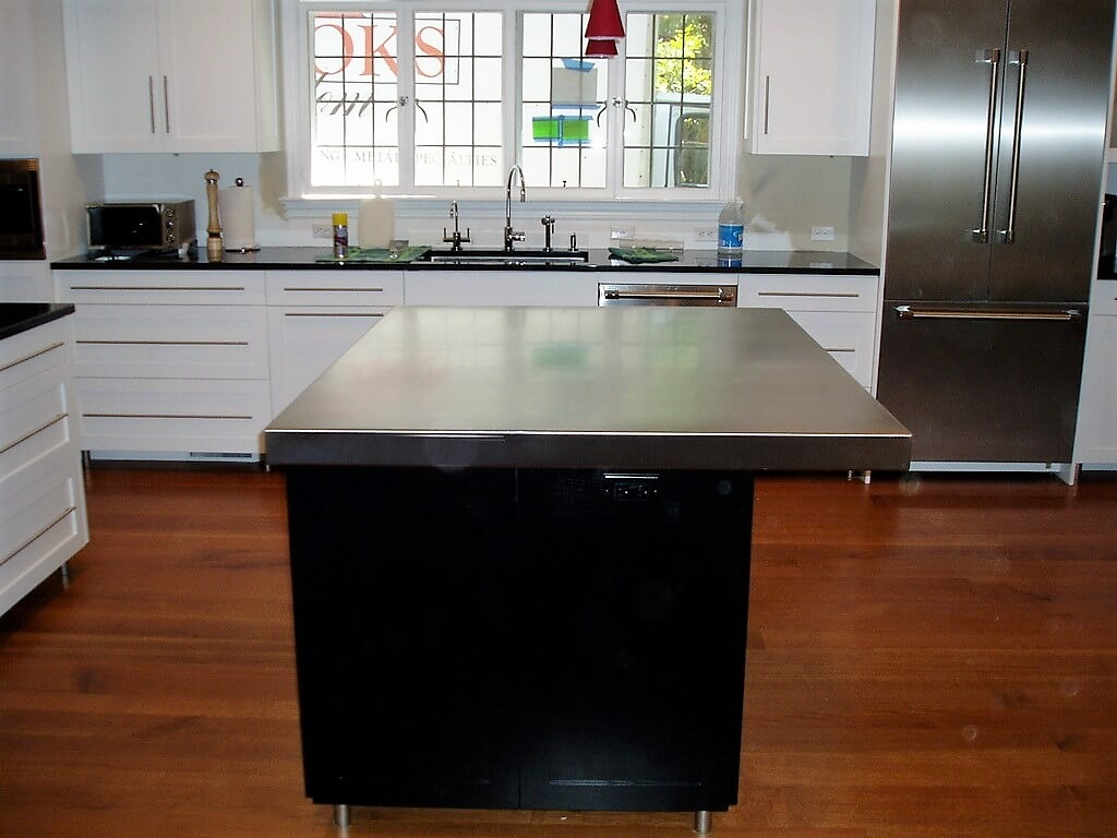 Brushed Stainless Steel Kitchen Island