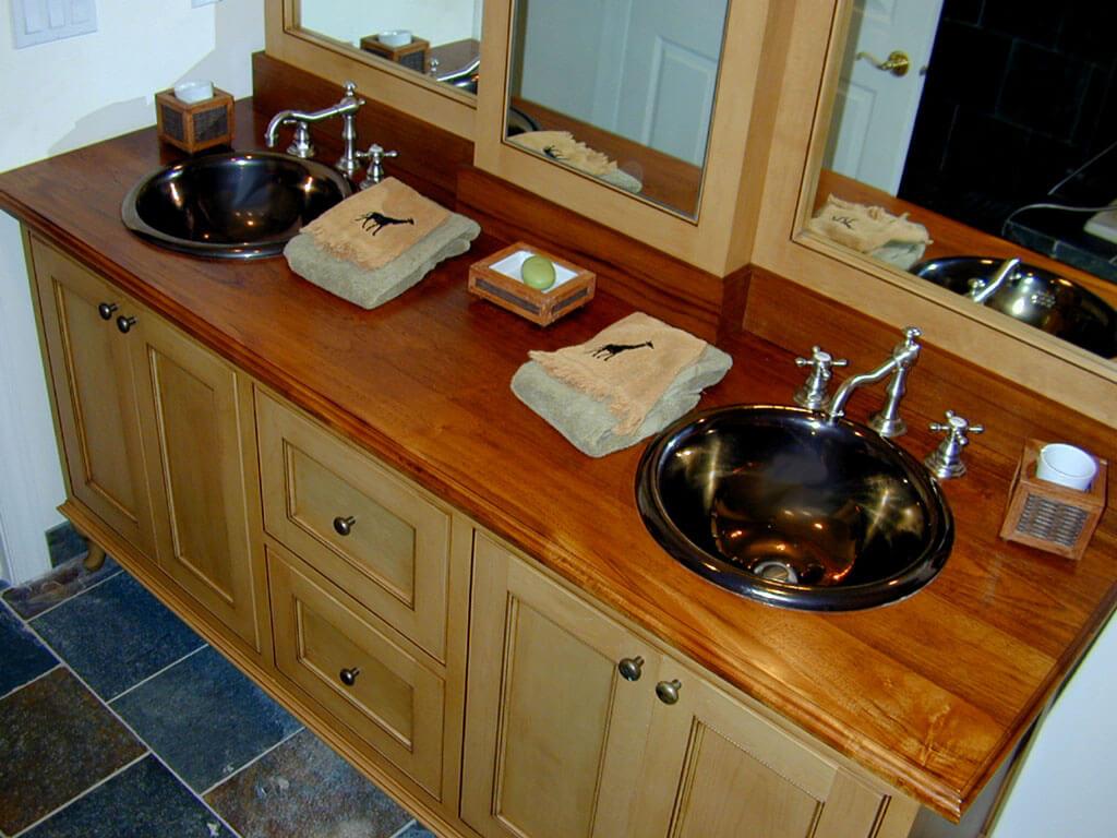 Teak Wide Plank Wood Countertop For Bathroom Vanity