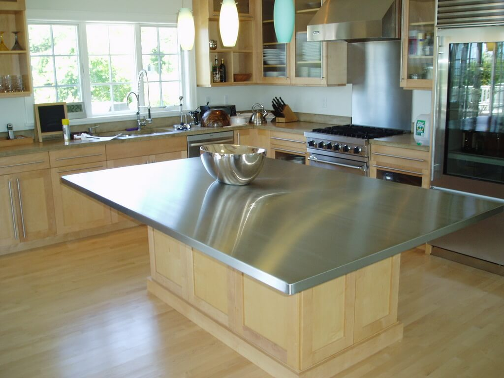 Stainless Steel Island In Transitional Kitchen