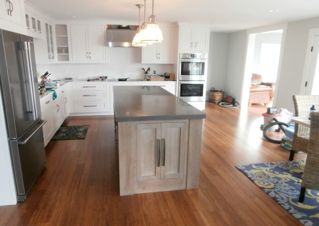 Gray Concrete Kitchen Island Countertop In A Transitional Kitchen