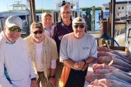 Herb Guarascio, TJ Wright, Timo Dean, Jeff Britt & Greg Elliott with some of their 10 Red Grouper while fishing the BFC Capt Marvel 1/15/2020 Charter.