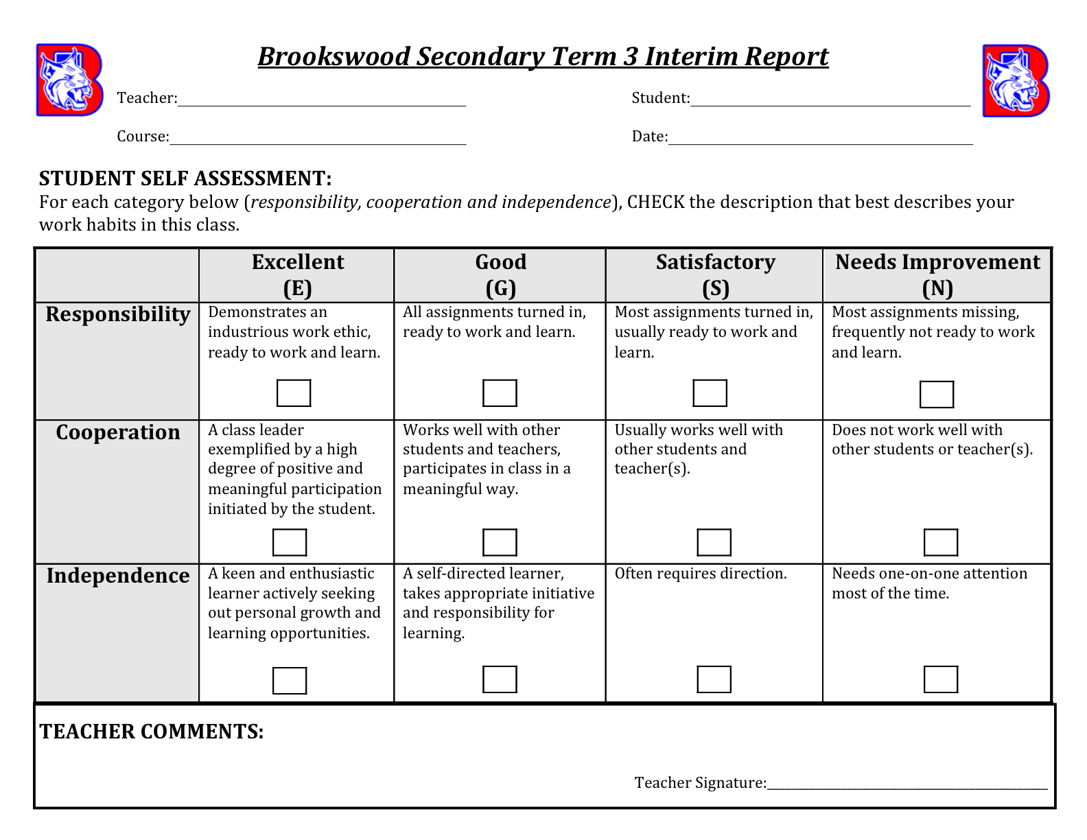 This Past Thursday, Teachers Began Sending Home Interim Reports To Students  In Every Class. The Final Interim Report Consists Of A Student Self- Assessment