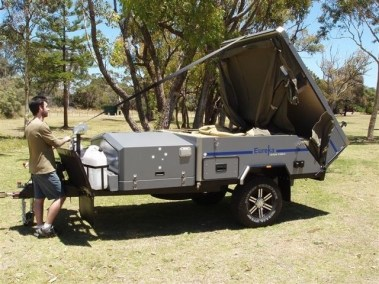 Eureka Broome Camper Trailer Hire setting up