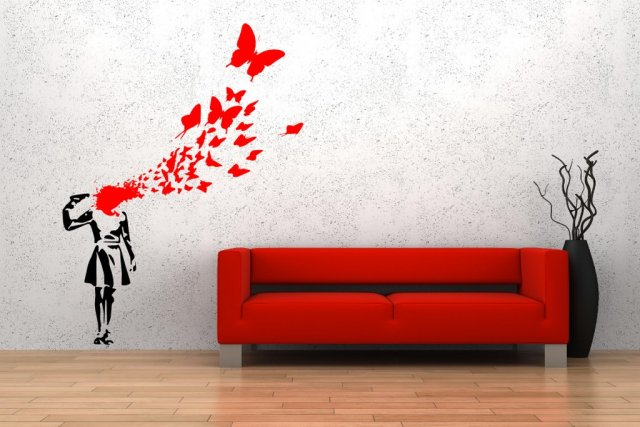 Motivational Quotes Wallpaper Full Hd Banksy Style Suicide Butterfly Girl Art Decoration Wall