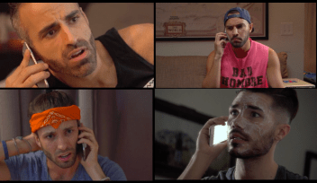 "Clockwise: Alex Mohajer, Adrian Anchondo, Rance Collins, and Daniel O'Reilly in a scene from short film ""Mean Bros."""