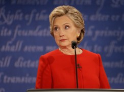Democratic presidential nominee Hillary Clinton listens to Republican presidential nominee Donald Trump during the presidential debate at Hofstra University in Hempstead, N.Y., Monday, Sept. 26, 2016. (AP Photo courtesy of Julio Cortez)