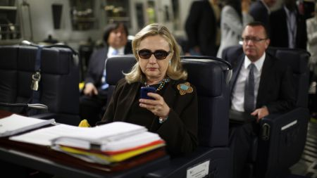 """Clinton was beloved as Secretary of State, receiving high marks from the media and the public alike. This """"texts from hillary"""" meme went viral in 2012, when her approval ratings soared to 69%."""