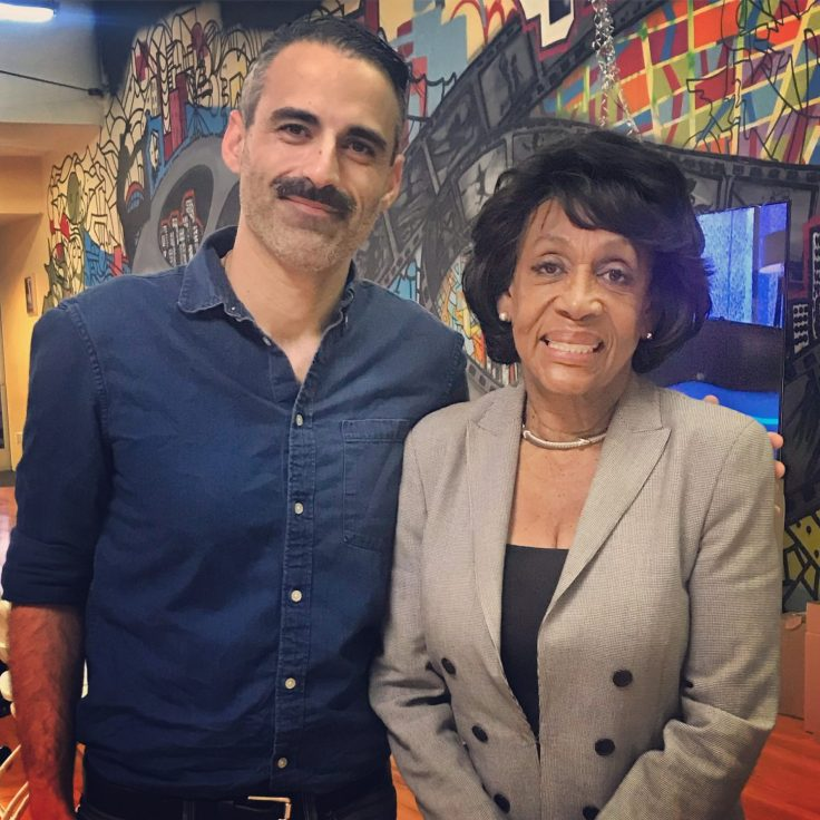 Congresswoman Maxine Waters (D-CA) with political commentator and Bros4America co-founder Alex Mohajer.