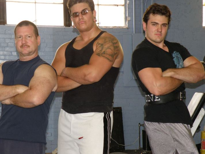 Dave (l) converted the bodybuilder on the right.