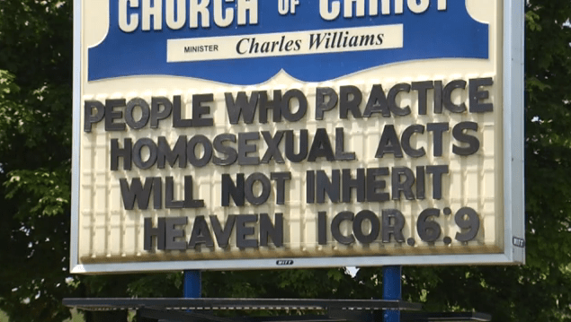 TV news claims church with sign against homosexuality is controversial