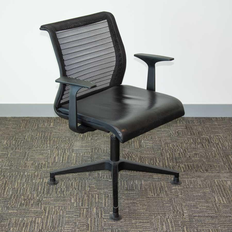 Steelcase Think Chair Steelcase Think Leather Seat Mesh Back Swivel Meeting Chairs