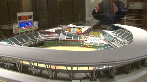 The news Twins ballpark will open in downtown Minneapolis in 2010.