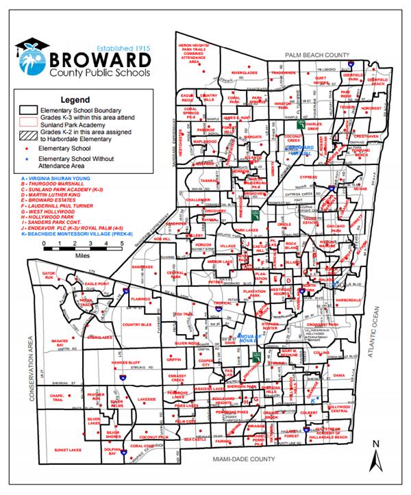 Map Of Broward County : broward, county, School, Level