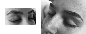 Photos of The Brow Guru clients after threading