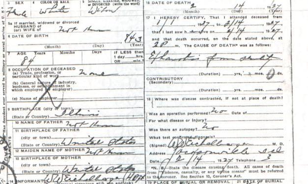Death Certificate of Octavia (Alexander) Johnson
