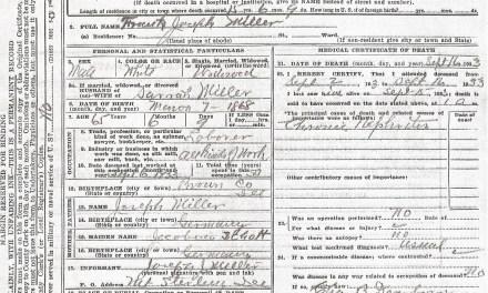 Death Certificate for Frank Joseph Miller