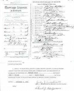 Marriage License of John Joseph Miller and Grace Miller p. 2