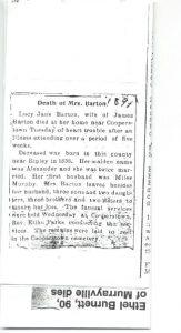 Obituary of Lucy Jane (Alexander) Barton