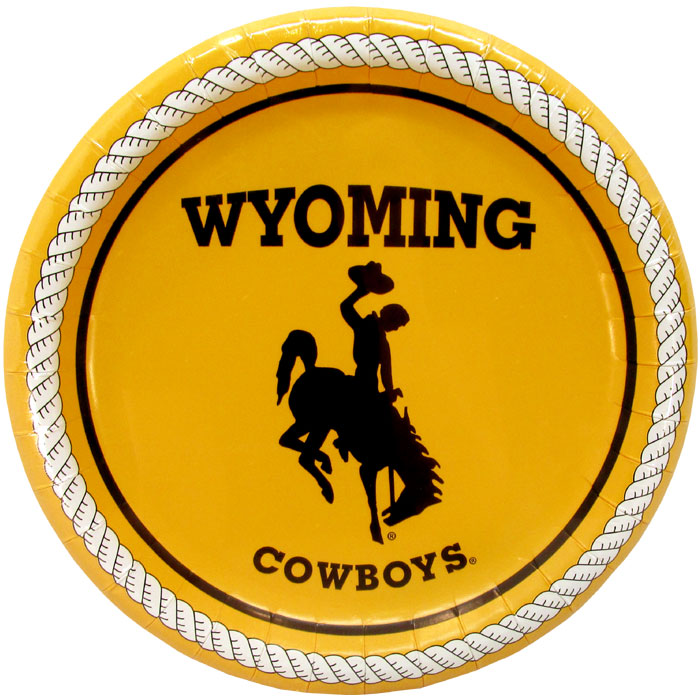 9 Wyoming Cowboys Paper Plates  Gold  University of