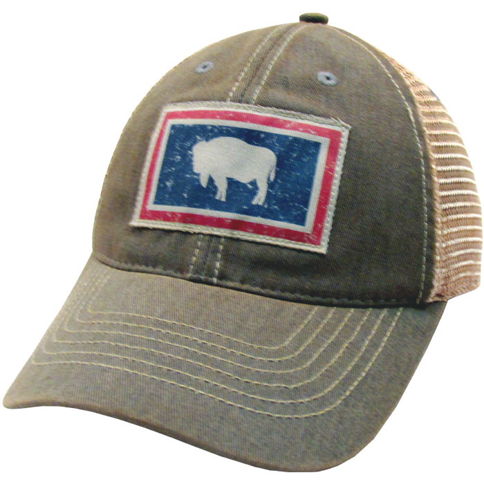 Wyoming State Flag Trucker Hat  Grey  University of