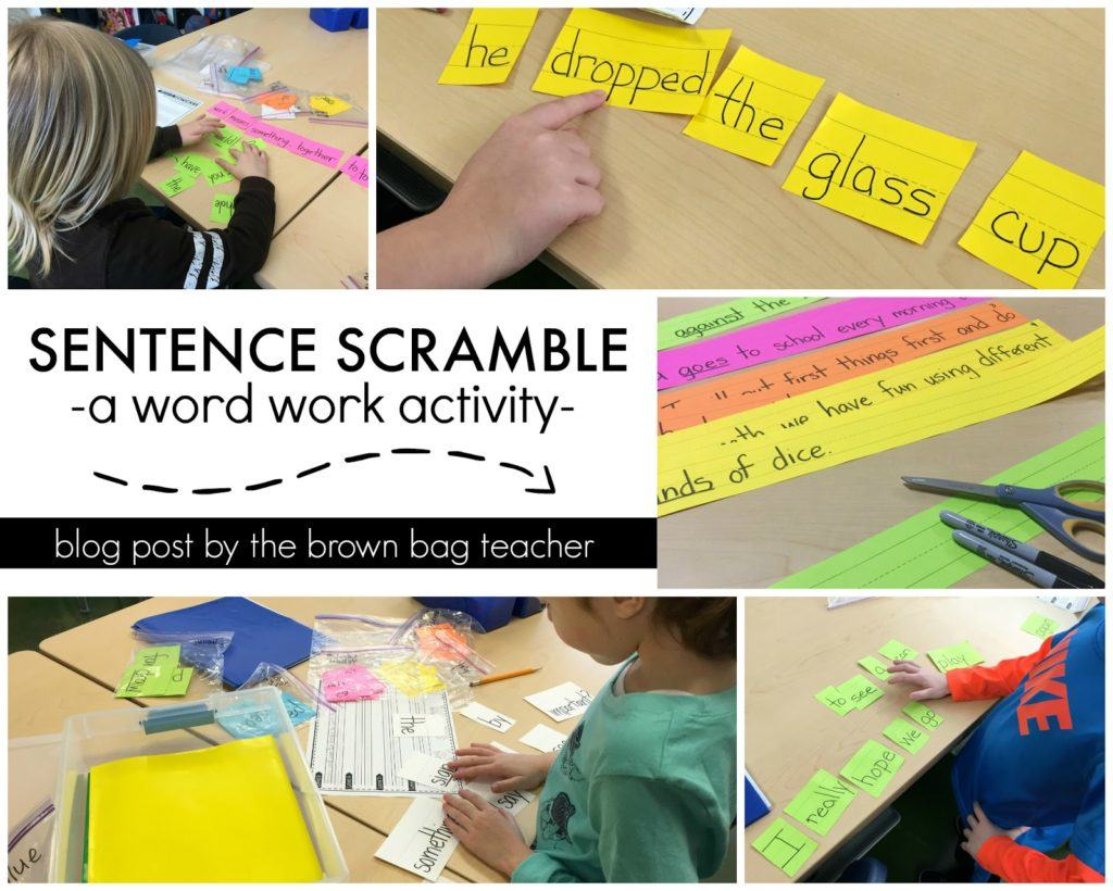 Word Work Sentence Scramble