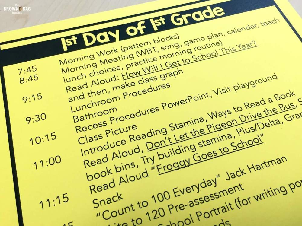 medium resolution of 1st Grade Schedule: A Day in the Life - The Brown Bag Teacher