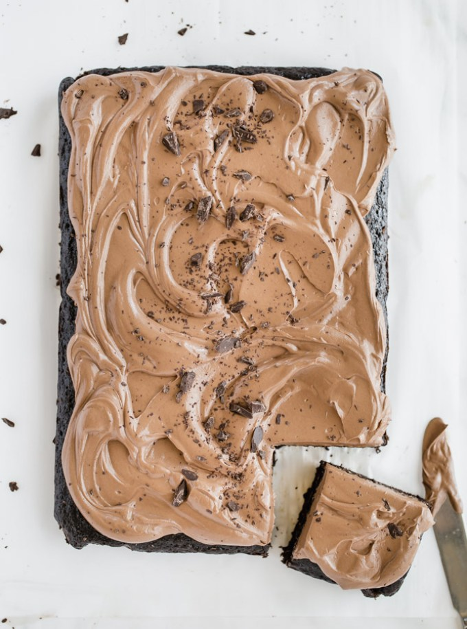 chocolate espresso cake, chocolate cake, chocolate sheet cake, sheet cake, chocolate fudge buttercream frosting