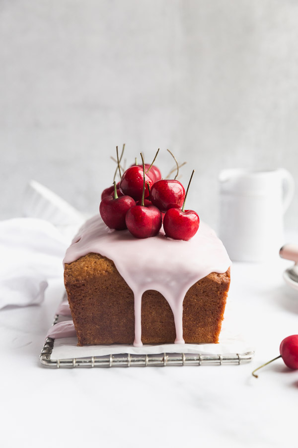 Lemon Cake with Raspberry Glaze