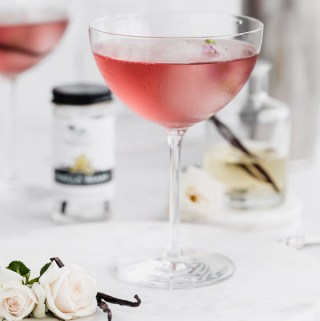 vanilla bean and rosewater vodka martini
