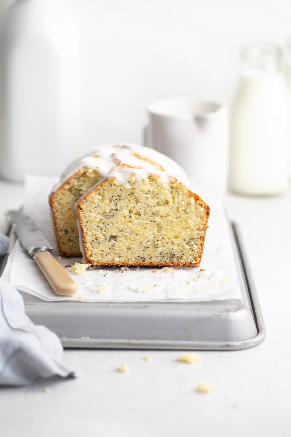 Meyer lemon poppy seed cake on baking tray