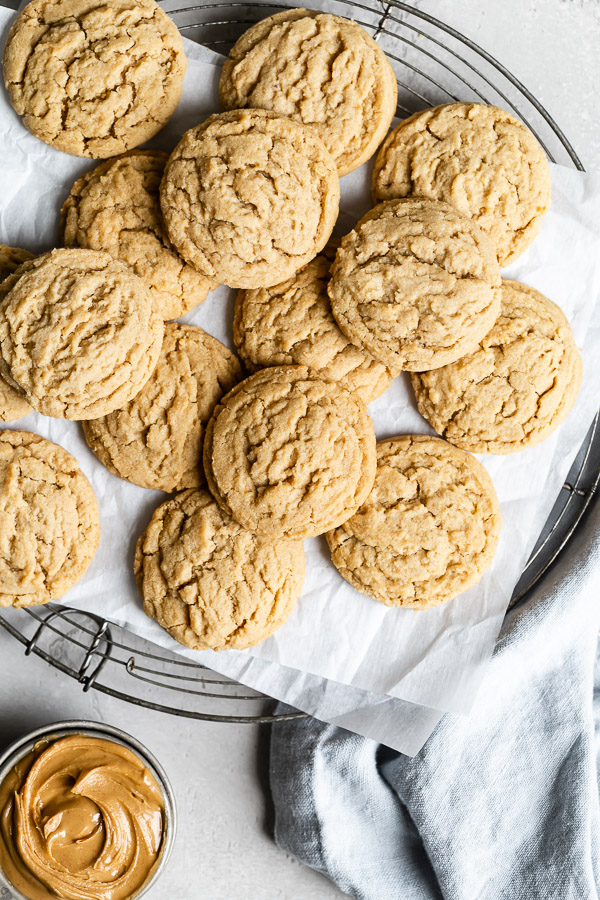 pile of 15 minute peanut butter cookies on baking tray