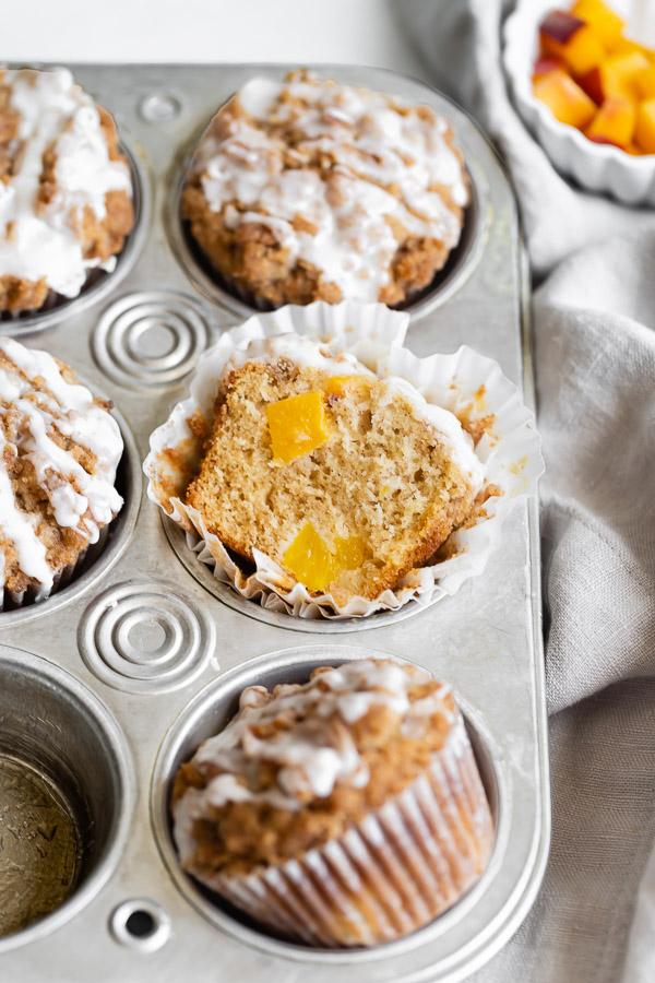 peach streusel muffin cut in half