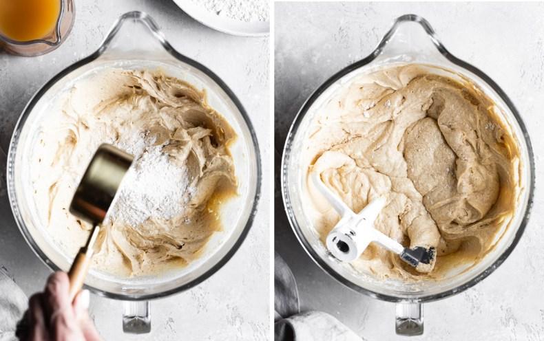 mixing batter for apple cider bundt cake