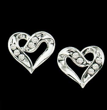 Silver Diamond Heart Earrings-0
