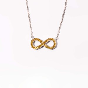 Sterling Silver Yellow Diamond Infinity Pendant