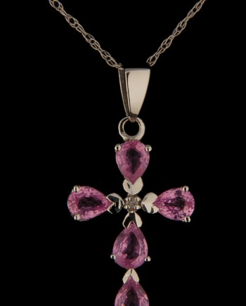 Pink Sapphires and Diamonds Cross 14K White Gold-0