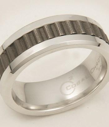 Gent's Cobalt Ring with Rivet Inlay-0