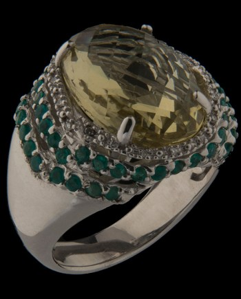 Green Amethyst Ring with Dark Green Crystals in Sterling Silver-0