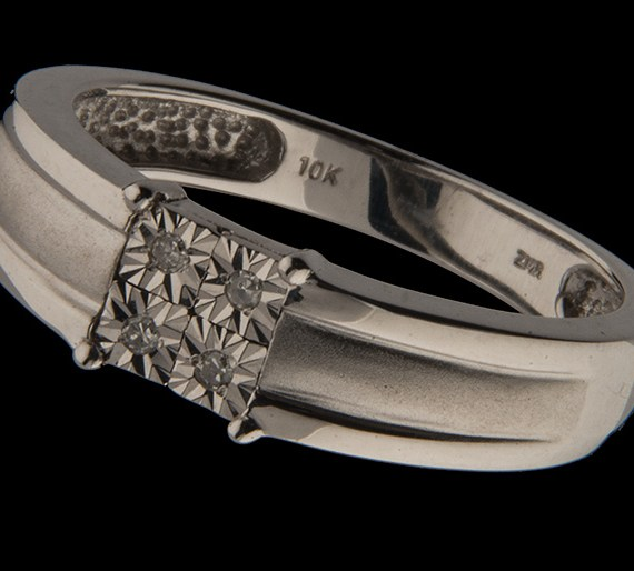 Gent's Diamond Wedding Band 0.30 ctw in 10K White Gold-0