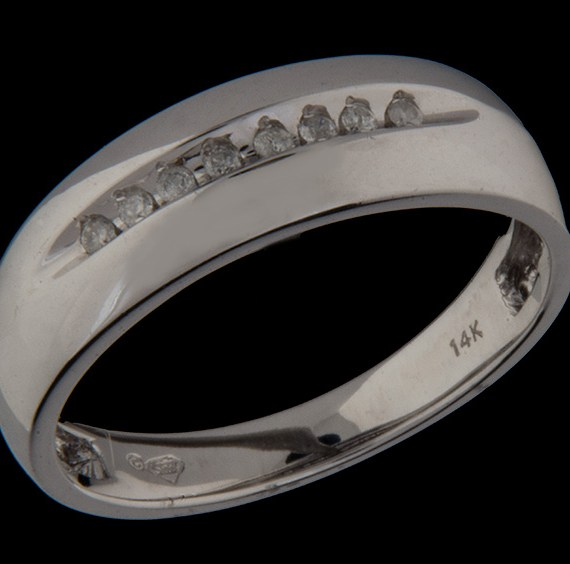 Gents Diamond (0.10ctw) Wedding Band in 14K White Gold-0