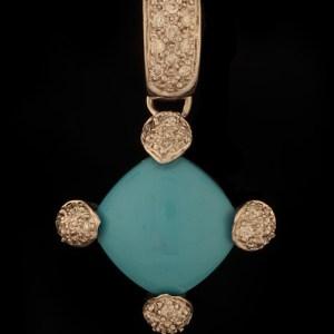 Diamond 0.15 ctw and Turquoise Pendant 14K White Gold-0