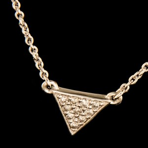 Diamond 0.10ctw Triangle Necklace in Sterling Silver-0
