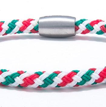 Stainless Steel and Rubber Italian Flag Bracelet-0