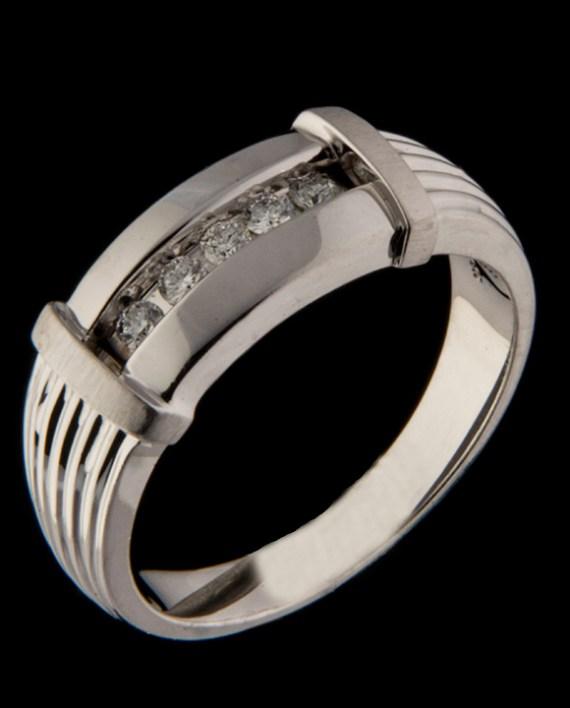 Men's Channel Bar Diamond Ring in 14K White Gold-0