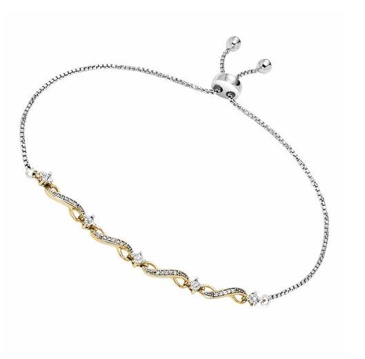 Diamond 0.125ctw Two Tone Bolo Bracelet in Sterling Silver